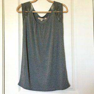 REISS woven shoulder sleeveless boho top | S 2-4
